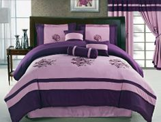 """7 Pcs Embroidered Roses Floral Comforter Set Bed In A Bag Queen Purple/Lavender by Jaba. $76.98. 1 Pc Square Cushion , 1 Pc Breakfast Pillow. 2 Pcs Standard Pillow Shams (20"""" x 28""""). 1 Pc Neckroll. 1 Pc Bedskirt (60"""" x 80"""" + 14"""" Drop). 1 Pc Queen Size Comforter (86"""" x 86""""). 7 Pcs Luxury Comforter Set  This is a very attractive comforter set.  This comforter set will give your room a new look!       Style#: 20583     Condition: Brand New     Size: Queen     Design: ..."""