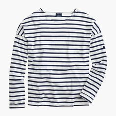 "Saint James has been spinning some of the world's finest knits out of its Normandy-based factory since 1889 and has become famous for its Breton shirt, a nautical-inspired style featuring classic stripes. Designed exclusively for us, this airy cotton version features a roomy body and slimmer sleeves. <a href='https://hello.jcrew.com/2015-04-apr/studio-tour-saint-james'><u>Tour the Saint James factory.</u></a> <ul><li>Loose fit.</li><li>Body length: 23 3/4"".</li><li>Cotton.</li><li>Machine…"