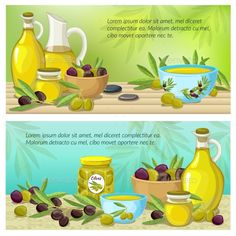 Buy Olive Colored Banner Set by VectorPot on GraphicRiver. Two horizontal olive colored banner set with products derived from olives on table vector illustration. Olive Oil Cartoon, Black Olive Tree, Olive Oil Packaging, Food Cartoon, Cosmetics Ingredients, Kitchen Herbs, Olive Oil Bottles, Cartoon Posters, Cosmetic Bottles