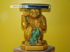 Vintage Ceramic Pottery Statue Monkey Majolica Ex Figurines photo