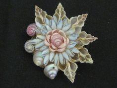 Vintage Shell Flower Brooch
