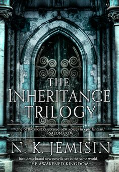 Cover shows a photorealistic, ornate stone door, superimposed with text reading THE INHERITANCE TRILOGY. At bottom, INCLUDES A BRAND NEW NOVELLA SET IN THE SAME WORLD, THE AWAKENED KINGDOM