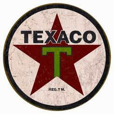 Texaco 1936 Logo Reproduction Round Distressed Retro Vintage Tin Sign: 11 in diameter. Reproduced from authentic, vintage advertising. Rich vibrant colors and heavy embossing make these wonderful for decorating. Pub Vintage, Vintage Logo, Vintage Tin Signs, Posters Vintage, Retro Poster, Vintage Decor, Vintage Grunge, Garage Signs, Garage Art