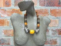 African Beaded Necklace, Ethnic Resin Beads, Ceramic Beads, Recycled Glass Beads, Wooden Beads, Seed Beads, Aged Metallized Beads
