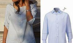 Reforma de #camisa cásica. Podemos hacer una presilla para recoger el acabado del puño..