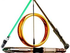 Jedi sword,wand,Percy's pen(Riptide), Katniss' arrow (Or Legolas',etc.) and the Ring