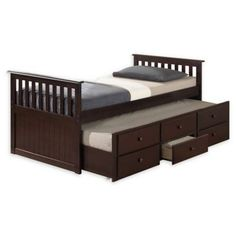 Crafted of high-quality solid hardwood, the Marco Island Twin Captain's Bed from Broyhill Kids is a stylish and sturdy addition to your child's bedroom. Features a convenient pull-out twin trundle bed with 3 spacious drawers for storage. Twin Captains Bed, Twin Trundle Bed, Stencils, Spare Bed, Bed With Drawers, Teen Girl Bedrooms, Fancy, Marco Island, Kid Beds