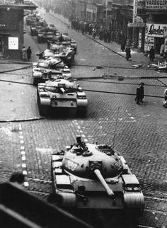 Soviet tanks rolling through Budapest during the 1956 Hungarian Revolution