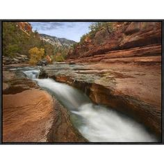 Global Gallery Oak Creek in Slide Rock State Park Near Sedona, Arizona by Tim Fitzharris Framed Photographic Print on Canvas Size: Yosemite National Park, National Parks, State Parks, Oak Creek, Sedona Arizona, Arizona Trip, Beach Landscape, Painting Edges, Stretched Canvas Prints