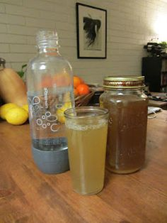 DIY Ginger Ale with Soda Stream: altered recipe to halve sugar, no honey, no lime, add orange zest and T ginger powder