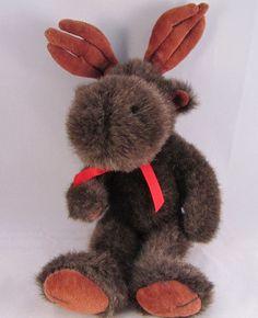 1995 Boyds Brown Plush Stuffed Animal Moose w Antlers EUC Bean Soft #BoydsCollection