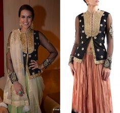 LOVE this Ritu Kumar jacket, worn by actress Neha Dupia as a sari blouse.
