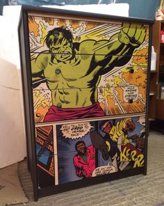 Upcycled Chest of Drawers with Marvel Comic Decoupage | eBay