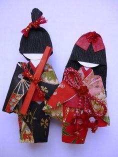 Kimono boy and girl bookmarks.