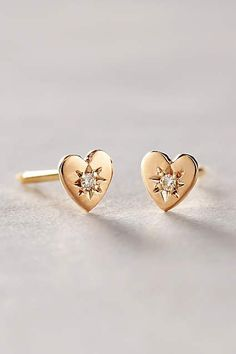 Diamond Mini Heart Studs
