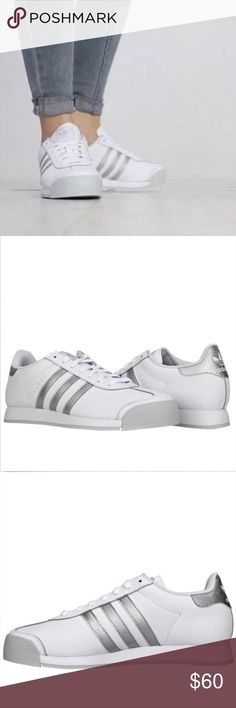 adidas Originals SAMOA Men's Shoes The Adidas Originals Samoa Men's Casual Shoes was first released in the '80s to resemble a classic soccer cleat and quickly became one of the decade's favorite trainers.  This version has the same rubber toe bumper and heel tab as the original, but with a smooth leather upper with T toe detail.  Full grain leather and synthetic upper with a rubber toe bumper Mesh lining Classic 3-Stripes Injected PU midsole Rubber outsole Style: AQ7906  Color: White/Silver…