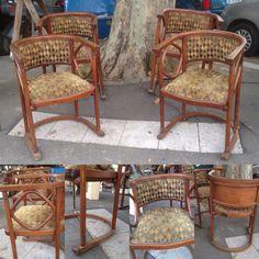 suite de quatre fauteuils en bois courbé , époque art déco . XX siècle .