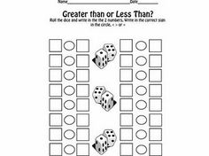 Fractions Greater than Less Than - The Lesson Plan Diva: Dice Games Math School, School Fun, School Stuff, School Ideas, Math Resources, Math Activities, Math Games, Dice Games, School Resources
