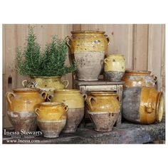French and European Antique Furniture and Accessories - Inessa Stewart's Antiques - Country French Decorating with Antiques ~ Antique Earthenware Confit Pots - French Country Rug, French Decor, French Country Decorating, Country Farmhouse, French Country Gardens, Farmhouse Decor, Farmhouse Pottery, Kitchen Country, French Cottage