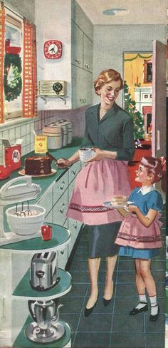 Retro Housewife with daughter: what a lovely sight . A mother teaching her daughter in the home how to become a lovely lady by teaching cooking skills.