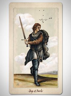 PAGAN OTHERWORLD tarot deck of cards by UUSI.  Page of Swords.