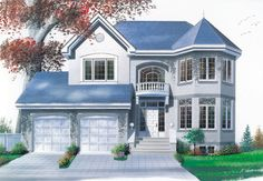 Discover the plan 2880 - from the Drummond House Plans house collection. Total living area of 2030 sqft. European Plan, European House Plans, Best House Plans, Dream House Plans, European Style, Modern Victorian Homes, Victorian House Plans, Victorian Houses, Plan Chalet