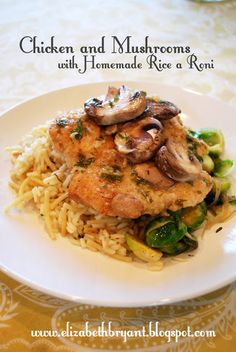 chicken and mushrooms with homemade rice-a-roni