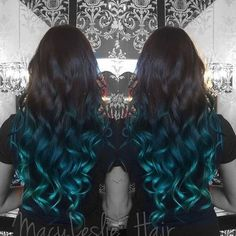 40 Fairy-Like Blue Ombre Hairstyles - black into blue ombre for long hair Dark Brown into Turquoise Ombre Hair Yet another mermaid grace - Blue Brown Hair, Ombre Hair Color, Green Hair, Dark Hair, Dark Brown, Dark Blue, Hair Colors, White Hair, Black Blue Ombre Hair