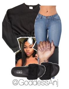A fashion look from September 2017 featuring nike tops, denim skinny jeans and puma flats. Browse and shop related looks. Boujee Outfits, Chill Outfits, Dope Outfits, Polyvore Outfits, Casual Outfits, Fashion Outfits, Dope Fashion, School Fashion, Teen Fashion