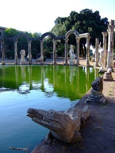 Villa Adriana - Tivoli, Italy.  Hadrian's villa, built in 118 AD.  Largest, richest, most luxurious villa of the Roman Empire.  A good day trip from Rome.