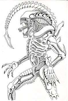 alien vs predator coloring pages alien queen drawing how to draw a