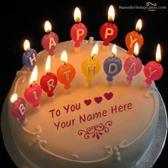 This is the best idea to wish anyone birthday online. Get a birthday cake with candles and name. Wish birthday to your loved one with love and creativity. Birthday Cake For Brother, Happy Birthday Cake Writing, Birthday Cake Write Name, Happy Birthday Chocolate Cake, Friends Birthday Cake, Birthday Wishes With Name, Happy Birthday Cake Pictures, Happy Birthday Wishes Cake, Birthday Cake With Photo