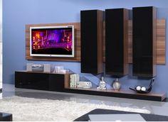 Ultra moderná obývacia stena v prevedení slivka a čierny lesk.