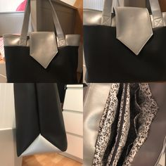 Sac Madison cousu par Isa - Tissu(s) utilisé(s) : Simili cuir noir et argent, coton fleuri - Patron Sacôtin : Madison