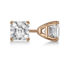 Allurez 0.75ct. Asscher-Cut Diamond Stud Earrings 14kt Rose Gold (G-H,... (1,995 CAD) ❤ liked on Polyvore featuring jewelry, earrings, rose gold diamond earrings, rose gold jewelry, fancy earrings, diamond jewellery and screw back earrings