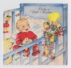 Vintage Greeting Card Baby's First Christmas Crib Hallmark Die-Cut 1940s Cute
