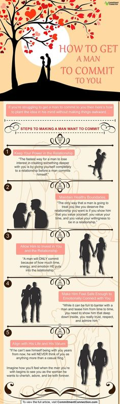 How to Get a Man to Commit to You infographic - #love relationship tips dating advice relationships