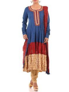 Buy Blue Cotton Kalidar Suit Set online at Biba official store - SKD#4086BLU.