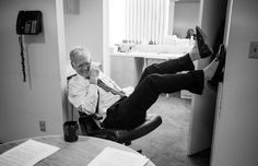 """David Letterman in his dressing room, going over material before a taping of """"The Late Show."""""""