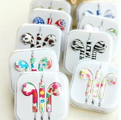 Birthday Gift 2015 New Cute Floral Painted 3.5mm In Ear Earphone Earbud For iPhone 4s 5 5s For Samsung Headphone Headset