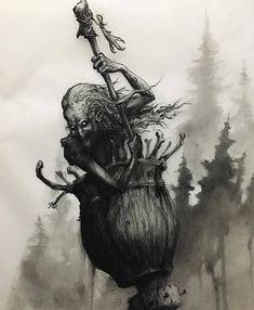 Baba Yaga, the fiercely wise feminine Baba Yaga, Dark Fantasy Art, Dark Art, Russian Mythology, Myths & Monsters, Witch Tattoo, Kobold, Witch Art, Horror Art