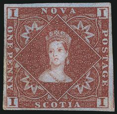 """Nova Scotia, Scott 1, SG 1. NOVA SCOTIA, 1853, 1p Red Brown (1; SG 1). Small part original gum (described as """"trace of gum residue"""" on certificate), large to huge margins incl. part of adjoining stamp's frameline at right, rich color, fresh and Very Fine, Scott $3,500.00, SG £2,750, Unitrade C$4,000.00"""