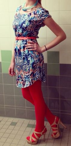 Spring dress with colored tights but tone it down.