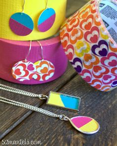 DIY Colorblock Jewelry- using duct tape #scotchducttape #diyjewelry #colorblock