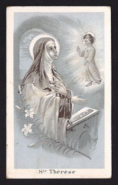 RARE St. Therese Holy Card. Beautiful old holy card of Saint Therese the Little Flower with the Christ Child.