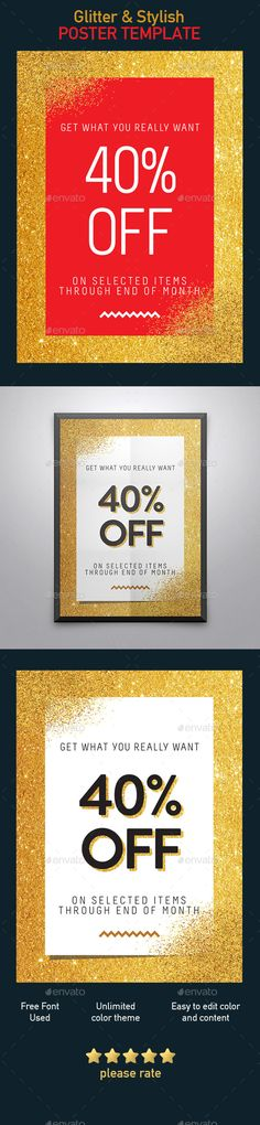 Glitter, Stylish Poster — Photoshop PSD #super sale #big sale • Available here → https://graphicriver.net/item/glitter-stylish-poster/19251393?ref=pxcr