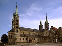 Bamberg Cathedral is a church in Bamberg, Germany, completed in the 13th century. The cathedral is a late Romanesque building with four imposing towers. It was founded in 1002 by emperor  Henry II, finished in 1012 and consecrated on May 6, 1012. It was partially destroyed by fire in 1081. The new cathedral built by St. Otto of Bamberg, was consecrated in 1111, and in the 13th century received its present late-Romanesque form.