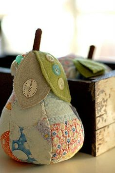 pear pincushion from reclaimed old quilts