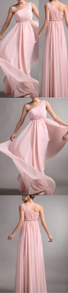 $109 One Shoulder Pink Chiffon Simple Cheap Long Pleating Wedding Party Bridesmaid Dresses