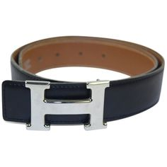 Pre-owned Hermes Black Brown Silver Buckle Belt Sz 65 ($400) ❤ liked on Polyvore featuring accessories, belts, black, brown belt, gold buckle belt, black belt, hermes belt and hermès